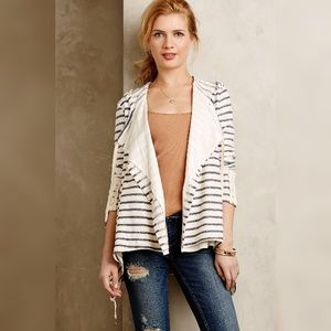Anthropologie Saige Lace Trimmed Striped Cardigan